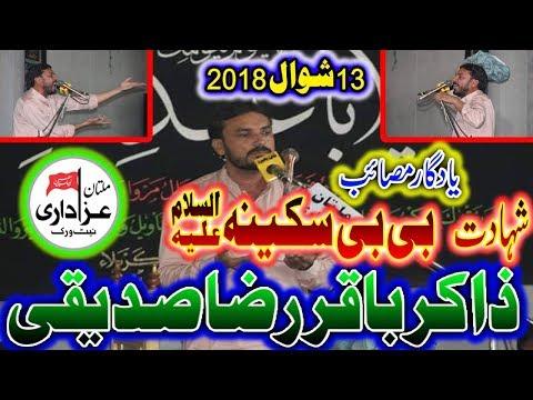 Zakir Baqir Raza Sadique I Majlis 13 Shawal 2018 I YadGar Masiab Bibi Sakina s.a I