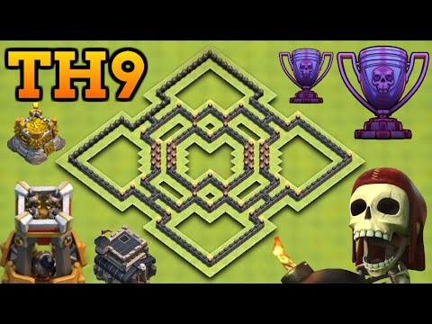 Clash Of Clans   BEST TH9 HYBRID BASE WITH BOMB TOWER!   Town Hall 9 Farming / Trophy Base