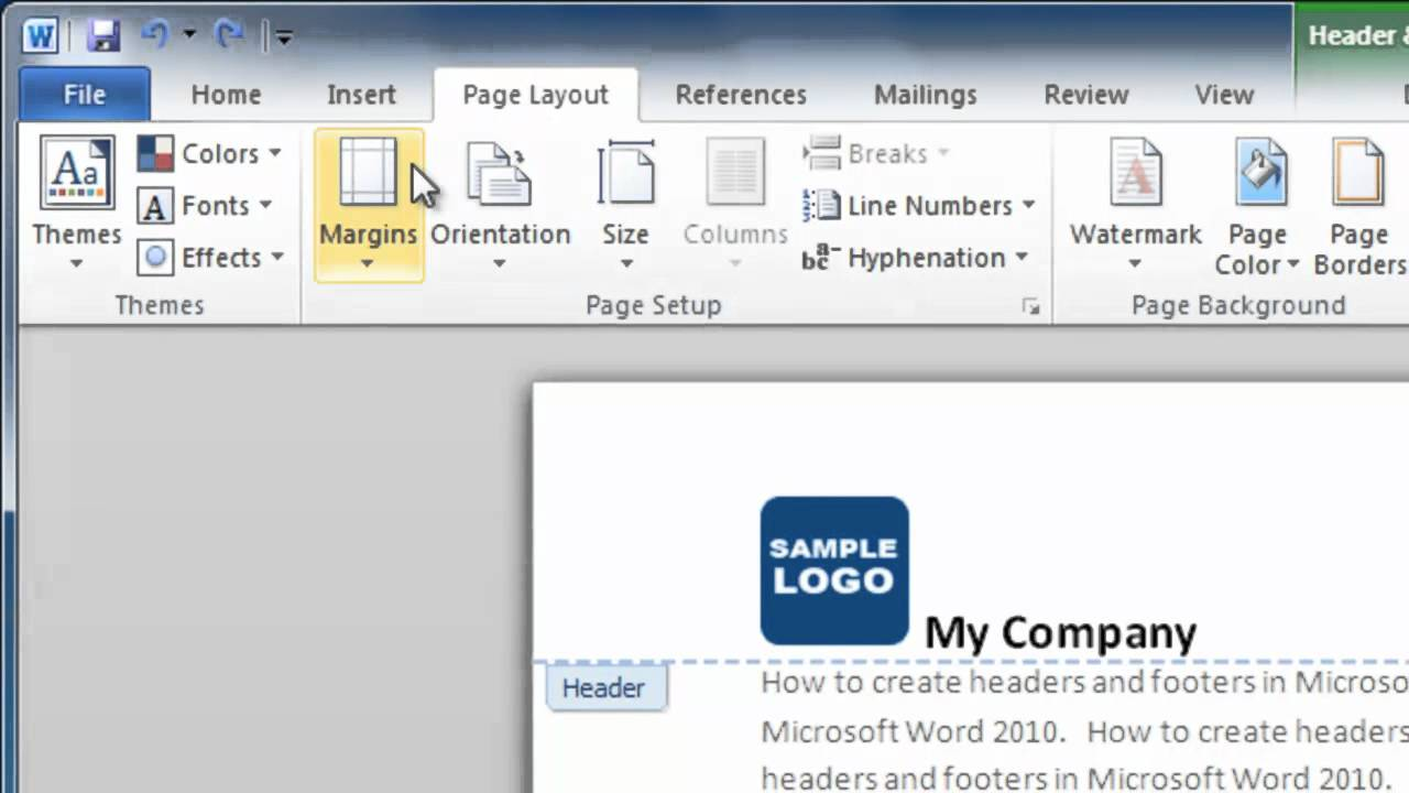 how to make a header and footer in word 2010