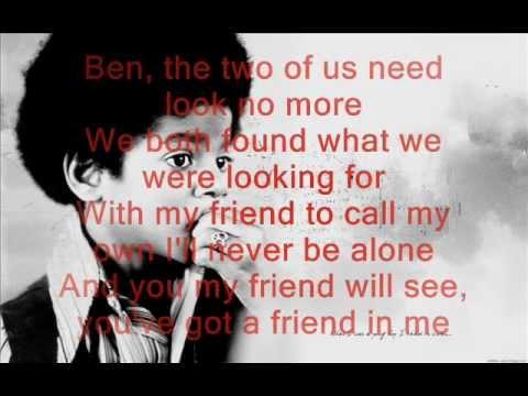 Michael Jackson - Ben Lyrics ( On Screen )