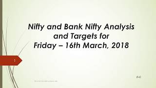 Download video Nifty and BankNifty Trading Levels for 16 Mar 2018