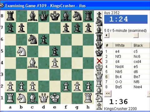 Chess World.net : Blitz #312 vs. ilus (2352) - Sicilian: Labourdonnais-Löwenthal (Kalashnikov)