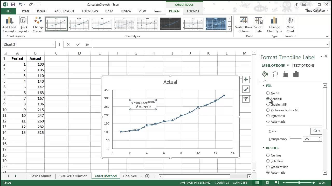 calculating growth in excel - chart method