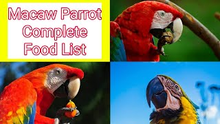 Macaw Parrot Complete Food List