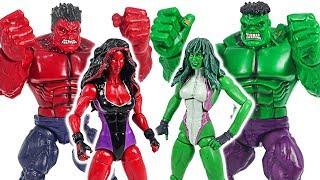 Hulk and Red Hulk! Defeat the Thanos with She-Hulk and Red She-Hulk! #DuDuPopTOY