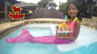 Real Mermaid Treasure Hunting Live Mermaid's Tale 3 In Our Pool | Toys Academy