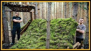 Bushcraft Camp: Hobbithöhle mit Turm - Super Shelter - Outdoor Bushcraft Lagerbau