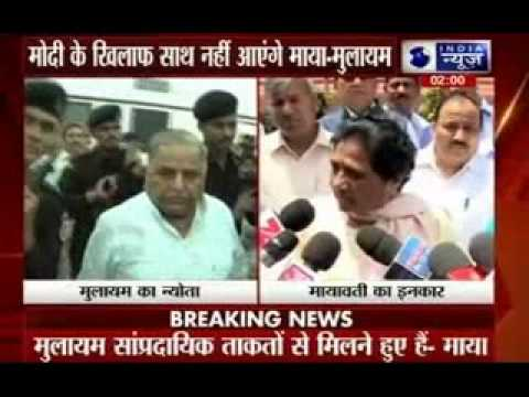 Mayawati refuses for any alliance formation with Mulayam and Lalu Prasad Yadav
