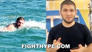 KHABIB INSANE TRAINING IN FREEZING DAGESTAN RIVER; SWIMMING AGAINST HARSH, ICY COLD CURRENT