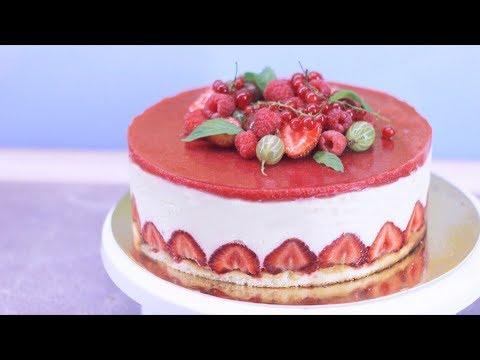 Пошаговый рецепт торта. Летнее наслаждение с клубникой, нежным кремом и желе. Торт фрезье