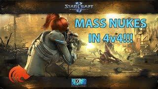 StarCraft 2: MASS Nukes in 4v4!!