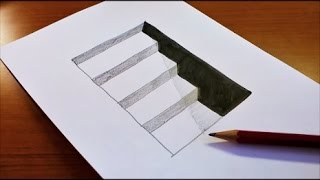 Very Easy!! How To Draw 3D Hole & Stairs for Kids - Anamorphic Illusion - 3D Trick Art on paper