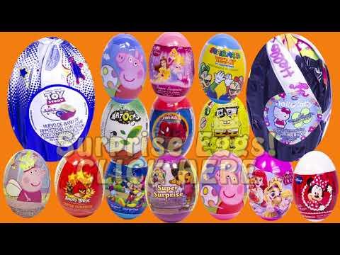 Surprise Eggs Peppa Pig Pocoyo Mickey Mouse Minnie Mouse MLP Play Doh Eggs Huevos Sorpresa