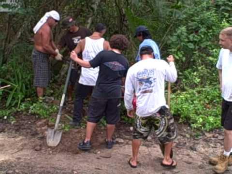 9 26 09 Guam's Kitesurfing crew starts digging post holes.  2nd clip