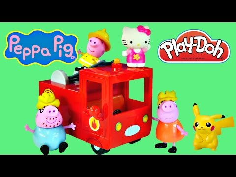 Peppa Pig Red Fire Engine Episode Fire Truck Rescue Play Doh Toys Hello Kitty + Pokemon video