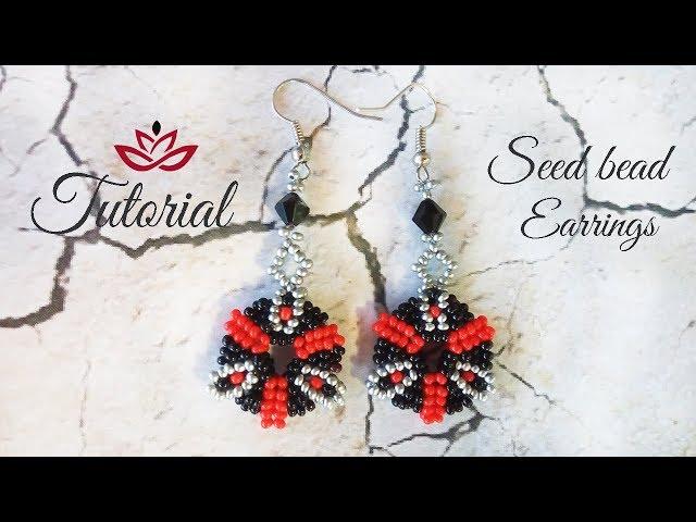 Double seed beads earrings - tutorial