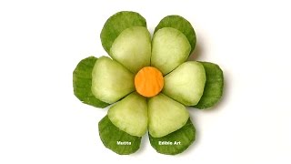 Cucumber Little Button Flower - Beginners Lesson 63 By Mutita Art Of Fruit And Vegetable Carving