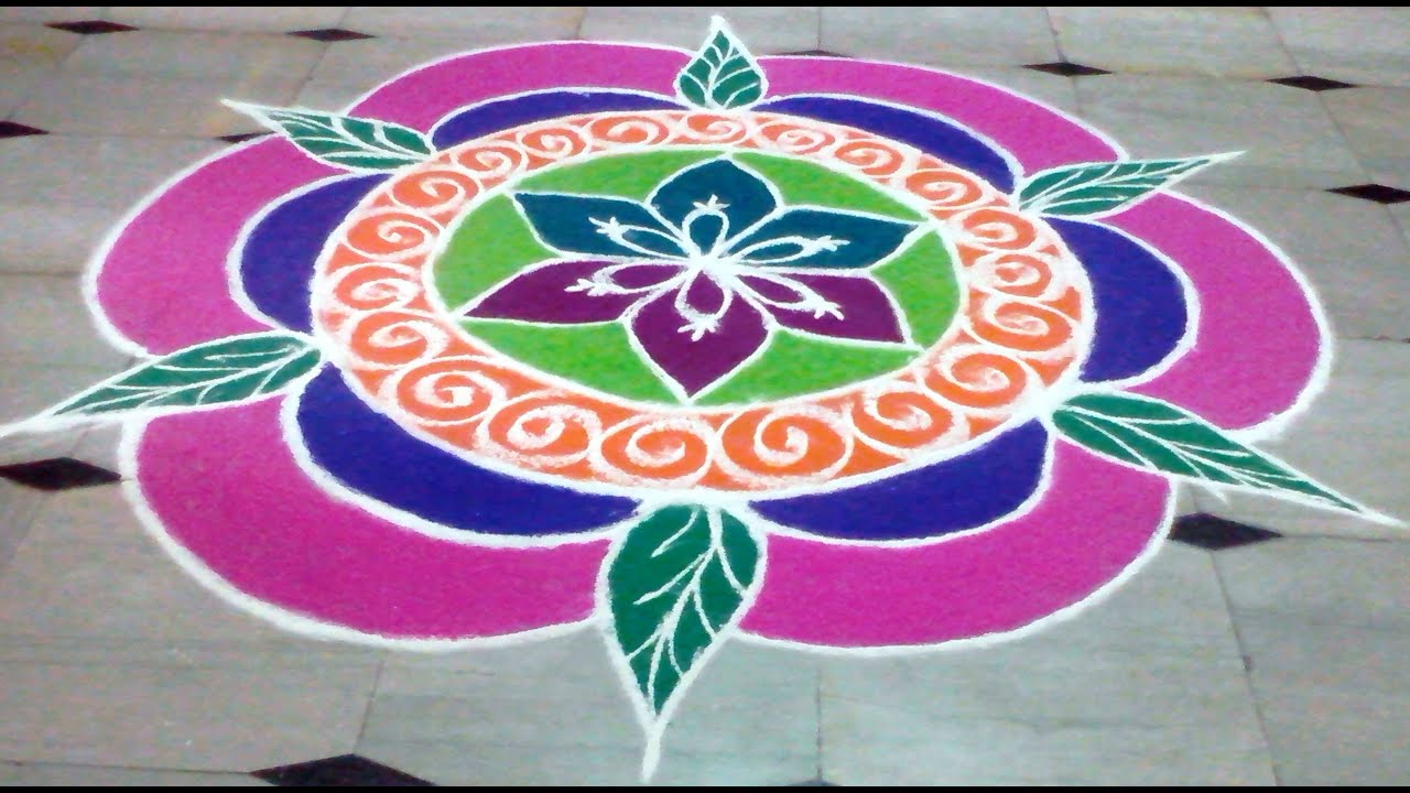rangoli latest designs for new year and pongal - YouTube