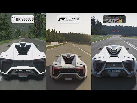 DriveClub vs Forza 6 vs Project CARS - W Motors Lykan HyperSport Sound Comparison