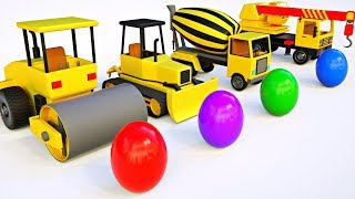 Build Dump Truck, Bulldozer Mixer Truck, Crane Truck for Kids - Learn Colors with Surprise Eggs