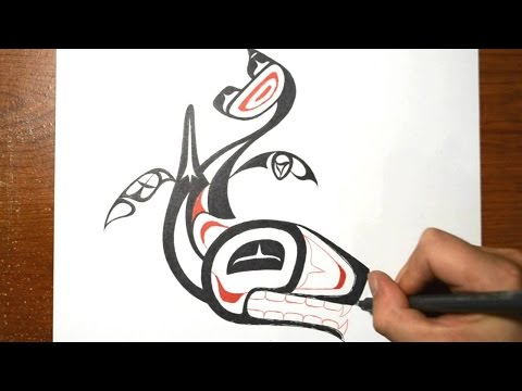 How I Draw a Tribal Whale - Haida Tattoo Inspired Design
