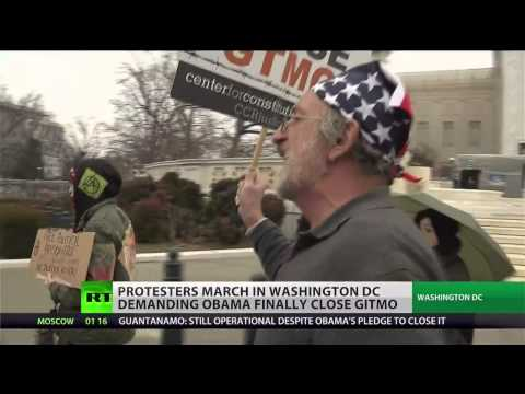 Angry Protesters ask Obama to keep his promise to close Guantanamo Bay
