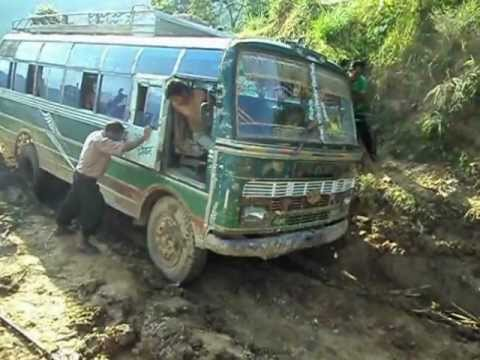 Bus Stuck In Muddy Road In Nepal(deadliest Way Of Gorkha Nepal) video