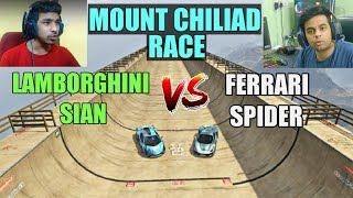 TECHNO GAMERZ LAMBORGHINI SIAN VS FERRARI SPIDER IN MOUNT CHILIAD MEGA RAMP 😍 (BEHIND THE SCENES )