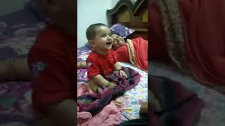 6 Months old indian cute baby laughing