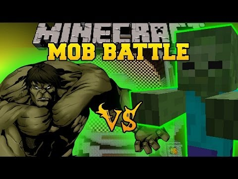 GIANT ZOMBIE VS HULK - Minecraft Mod Battle - Mob Battles - Superheroes Unlimited And Vs Mobs Mods