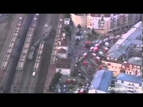 Aerial footage of French train Crash   Bretigny sur Orges station