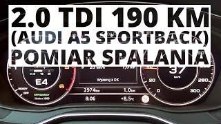 Audi A5 Sportback 2.0 TDI 190 KM (AT) - pomiar zużycia paliwa