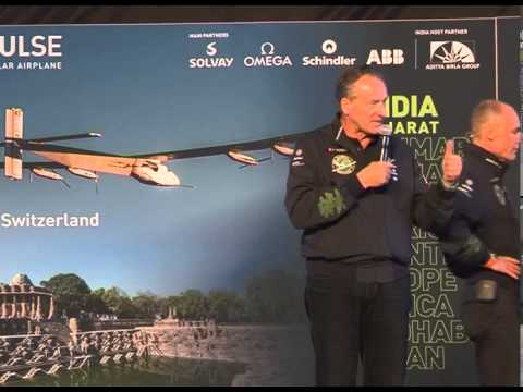 Media interaction by Solar Impulse team at Sardar Patel airport, Ahmedabad Gujarat India