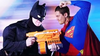 NERF Batman vs Superman Challenge!