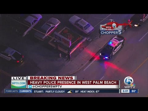 Heavy police presence at West Palm Beach gas station