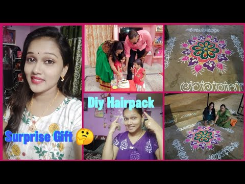 DIML||31st Vlog||Surprise New year Gift From Spurthi Jewels||Diy Hair growth Pack||Rangoli||