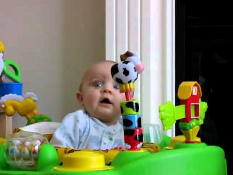 Baby scared of mom blowing nose (HD)