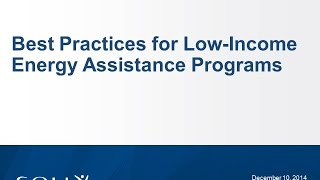 Best Practices for Low-Income Energy Assistance Programs Webinar