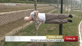 Elderly man demonstrates astounding feats of strength