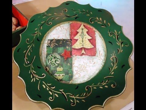 Decoupage manualidades navide as plato con servilletas - Servilletas de papel decoradas para manualidades ...