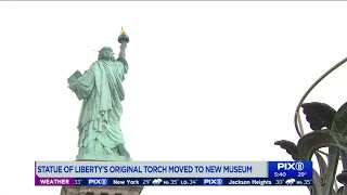 Statue of Liberty`s original torch moved to museum site