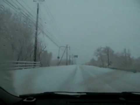 登別市外へ【車からの雪景色】