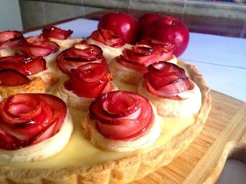 """Яблочный пирог """"Розочки из слоеного теста"""". Торт с заварным кремом"""