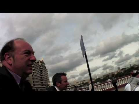 Cycling over Blackfriars bridge with transport minister Norman Baker