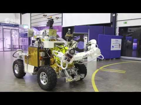ESA's Eurobot rover roving at Estec on 7 August under live control by astronaut Alexander Gerst on board the ISS. The demonstration helped test a new fault-t...