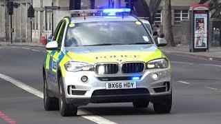 London Armed Police car responding VERY FAST with BULLHORN!