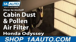 How To Install Replace Cabin Dust and Pollen Air Filter Honda Odyssey 99-04 1AAuto.com