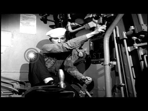 Gun Turret (16 Inch) fired aboard USS Missouri HD Stock Footage