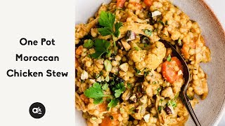 One Pot Moroccan Chicken Stew with Sweet Potatoes and Couscous
