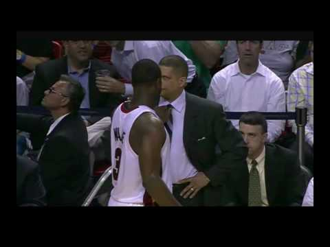 Dwyane Wade is fouled on a play and before getting ready for the free throw, he gives Eddie Jordan, the coach of Philadelphia 76&#039;s some fashion advice.